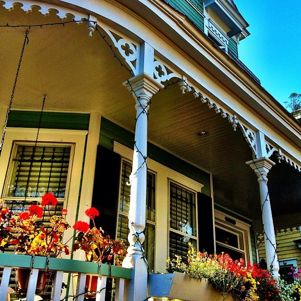 This is one of my favorite houses in Savannah.. even though you can't see most of it here. A doctor with a green thumb lives there and keeps the porch and lawn overflowing with flowers.