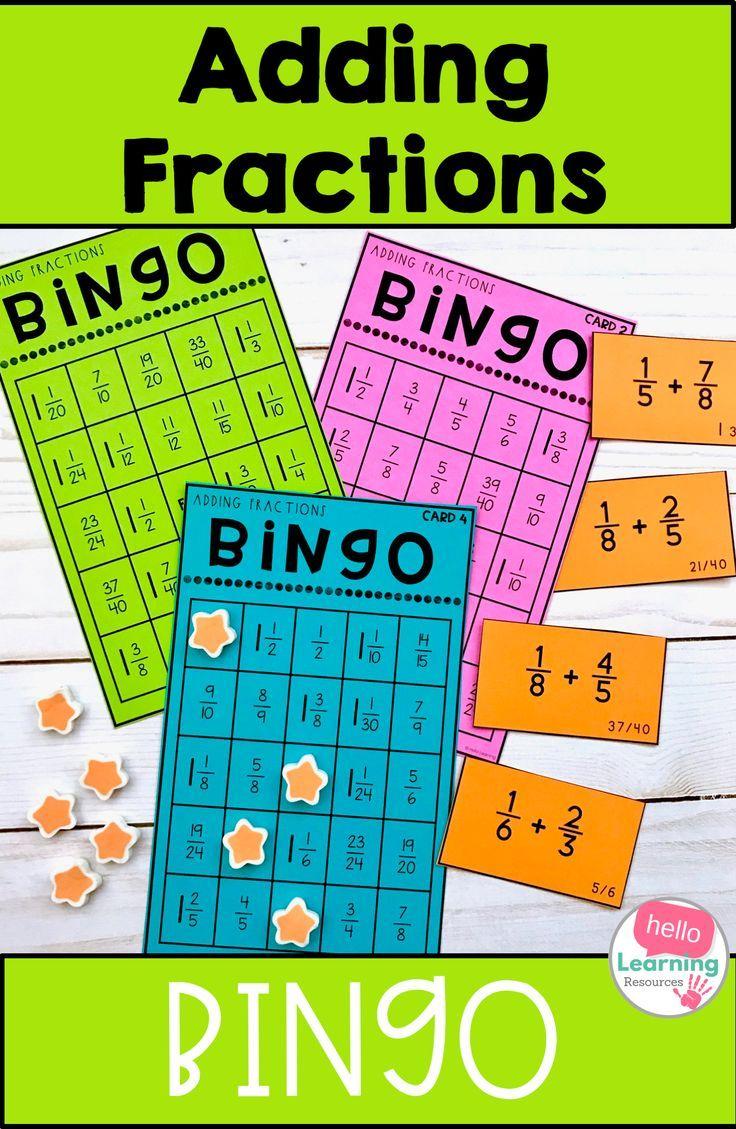 Adding Fractions With Unlike Denominators Bingo Game Adding Fractions Fractions Upper Elementary Math Adding and subtracting fraction bingo