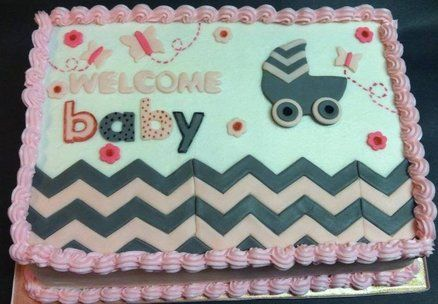 Chevron Sheet Cake | Chevron Baby Shower Cake - by Heather Britton Collins @ CakesDecor.com ...