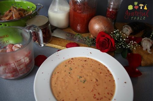 (Lobster or) Shrimp Bisque- Simple Recipe. Low-carb, gluten-free soup, easy to make. (The cook has enough energy left to still feel romantic. Perfect for Valentine's Day!)