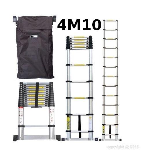 Echelle télescopique en aluminim 4m10 +housse de transport - echelle4.10 - Outillage