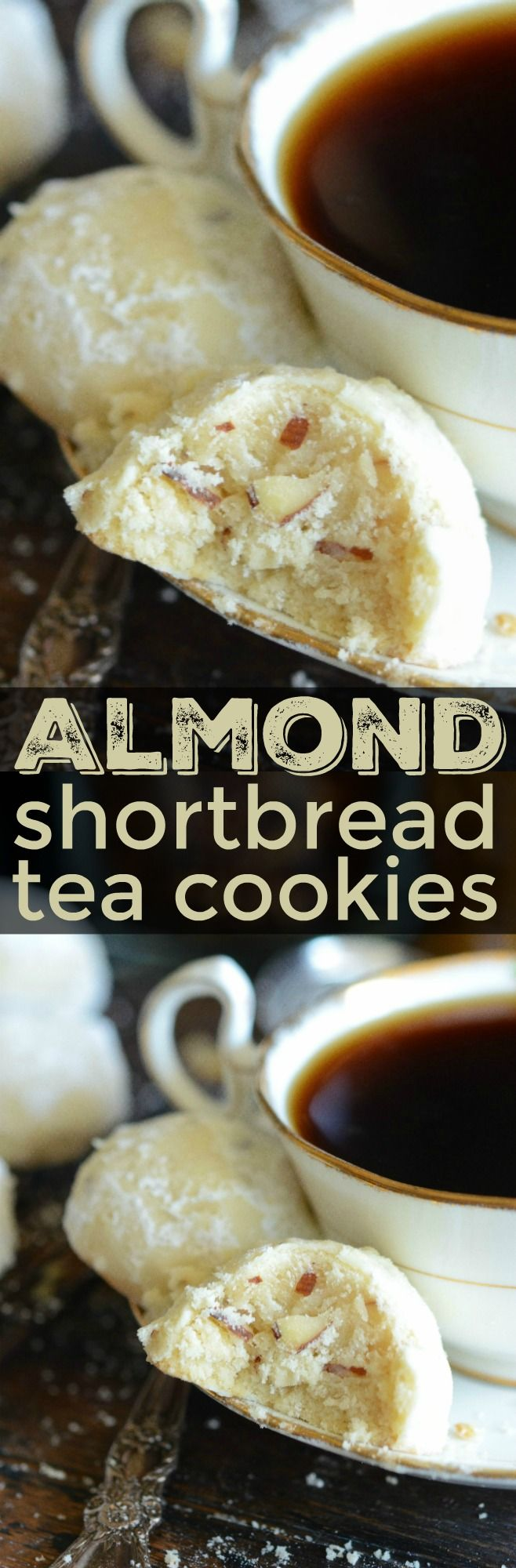 Almond Shortbread Tea Cookies are soft buttery cookies filled with almonds and tossed in powdered sugar to make the perfect sweet accompaniment to a cup of tea!
