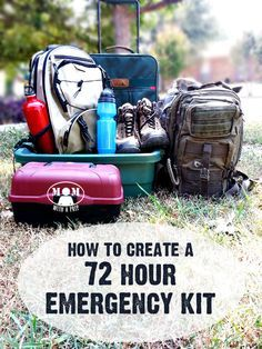 """Create a 72 Hour Emergency Kit for those times when you need to grab a bag and go! @ <a href=""""http://Momwithaprep.com"""" rel=""""nofollow"""" target=""""_blank"""">Momwithaprep.com</a> -- Free Downloadable Checklist"""