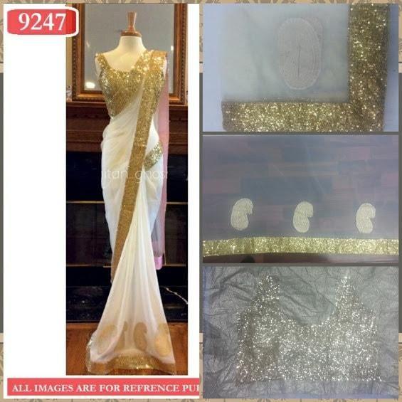 Gold Pleats Net Bollywood Sarees Online