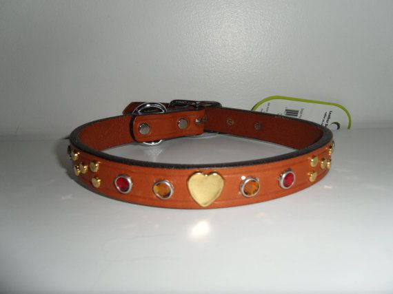Bling Leather Dog Collar Red Dog Collar Gold by StarBoundWestern