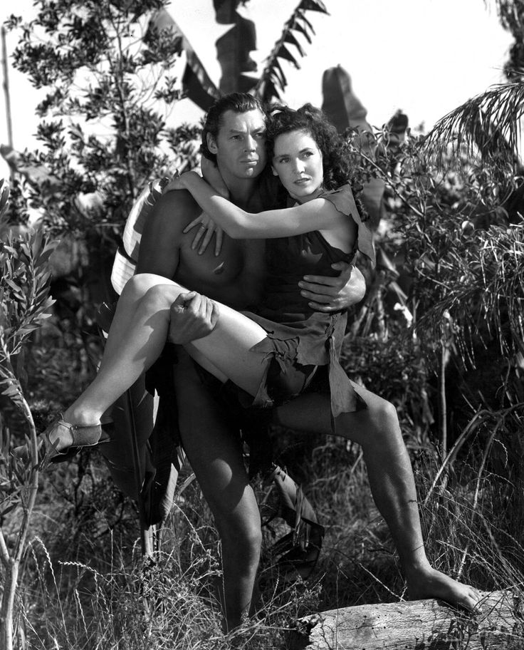 Johnny Weissmuller as Tarzan and Maureen O'Sullivan as Jane---I LOVED THIS SHOW WHEN I WAS GROWING UP!
