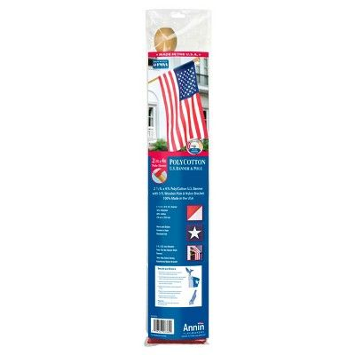 American Flag & 5' Wooden Pole Set, Red/White/Blue