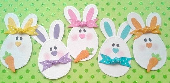 Easter Egg Bunny Embellishments Easter embellishments Bunny embellishments Easter paper piecing 5 bunnies 3 carrots