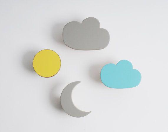 Wooden wall hooks cloud Sun Moon designs by chocolatecreative