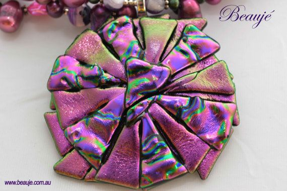 Pink necklace Purple necklace Jewellery by BeaujeJewellery on Etsy