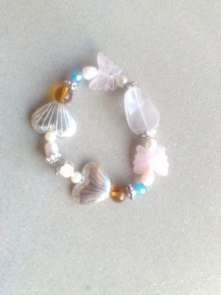 Bracelet elastic with bead ,heart and butterfly