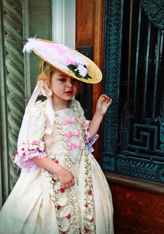 La Petite Marie Antoinette gown by Aria Couture, a sweet rococo dress and French bergére hat.