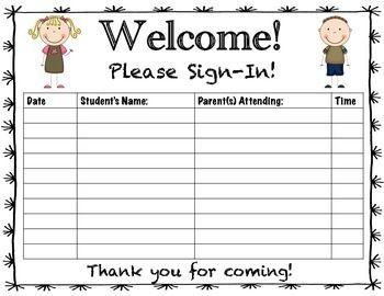 Parent Teacher Conference Sign In Sheet Classroom Ideas