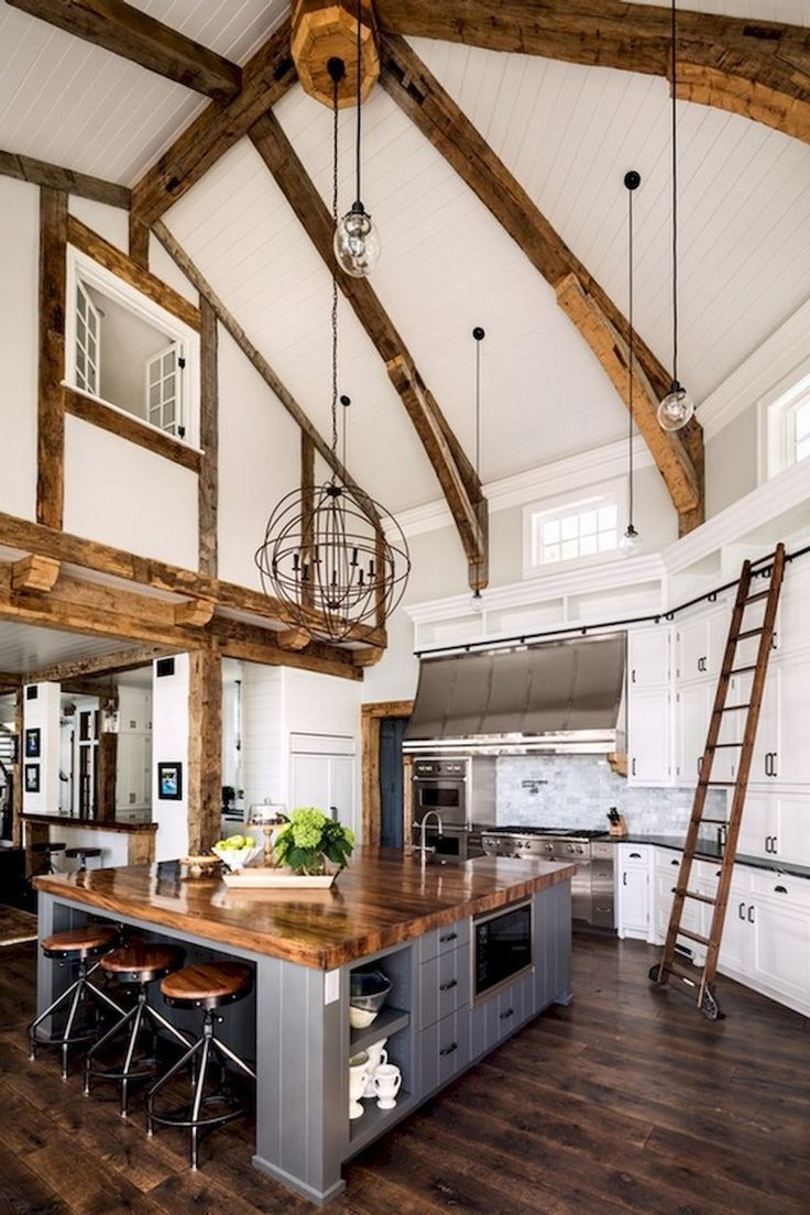 53 Stunning Rustic Farmhouse Style Kitchen Decorating Ideas Country Kitchen Designs Farmhouse Style Kitchen
