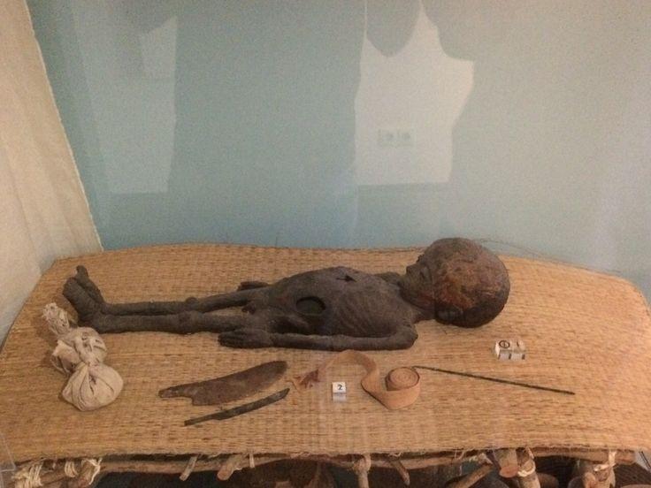 Een mummie van een vijfjarig jongetje. Het gat in zijn buik is gemaakt om zijn ingewanden te verwijderen. Egyptenaren haalden altijd de organen uit het lichaam de hersenen werden via de neus er uitgehaald.
