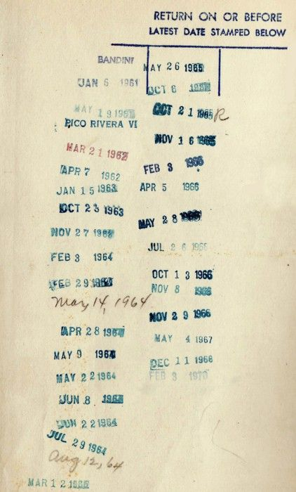 dates, numbers, typography. I loved working in the library at college. Punishment for not doing PE. Haha, couldn't have given me a better out. I hated sports, loved books. I love how old the dates on this are. (image courtesy of Alabama Chanin)