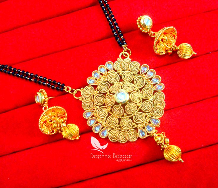 S78, Daphne Handmade Golden Mangalsutra Set With Earrings for Women, Gift for Wife