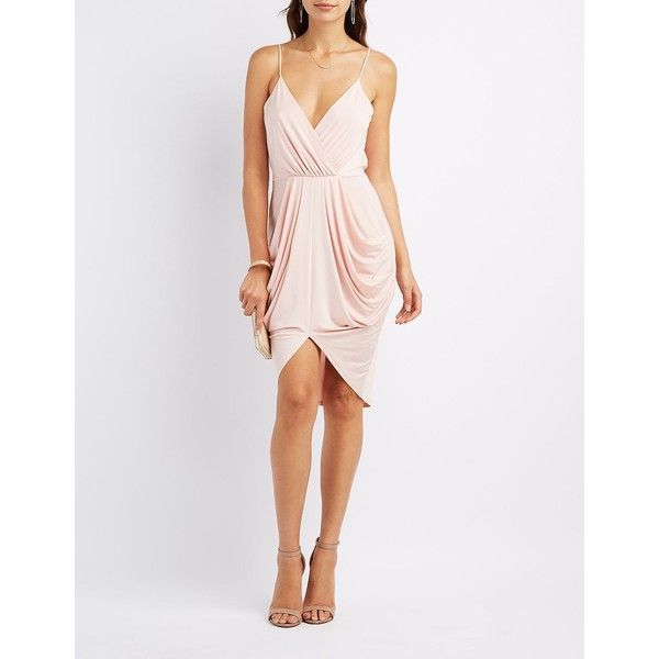 Charlotte Russe Surplice Draped Cocoon Dress ($20) ❤ liked on Polyvore featuring dresses, nude, short in front long in back dress, short dresses, high low dresses, white drape dress and spaghetti strap dress