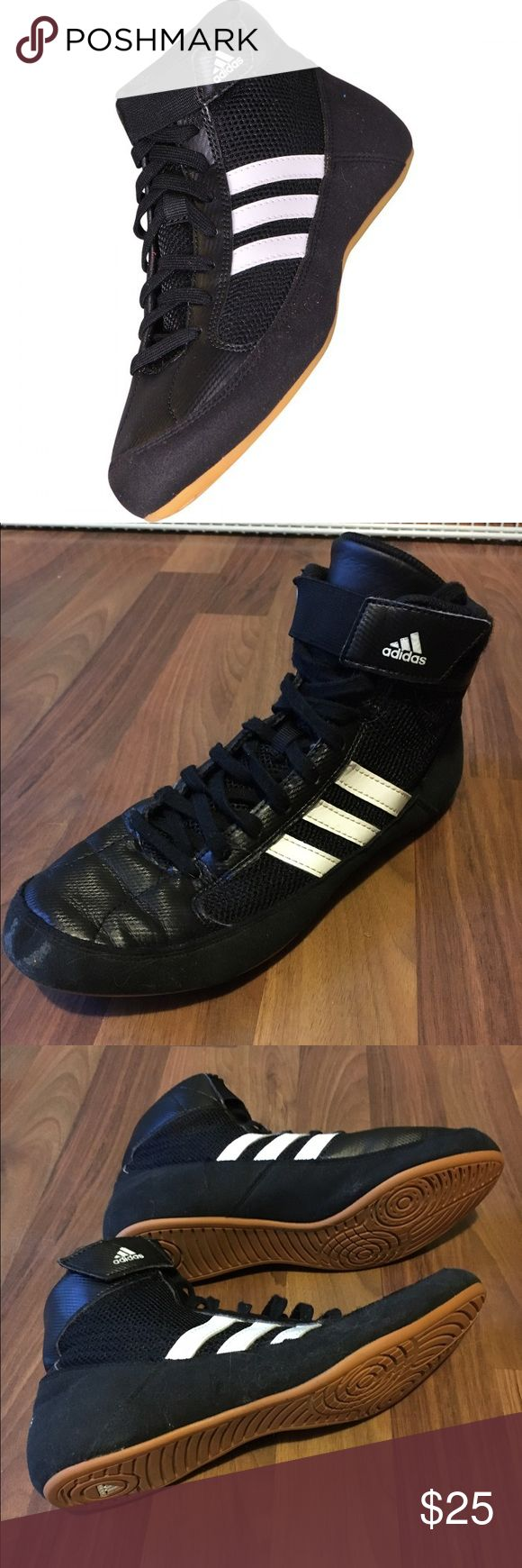 Adidas men's wrestling shoes Like new, they are not stained at all and have so much life left in them they were worn twice!!! Size 7 men's and as shown in pics are in beautiful condition!! Fits true to size but my brother just grew out of them. Adidas Shoes