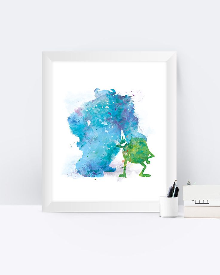 Mike and Sulley Watercolor Monsters Inc Print Monsters Inc Wall Art ...