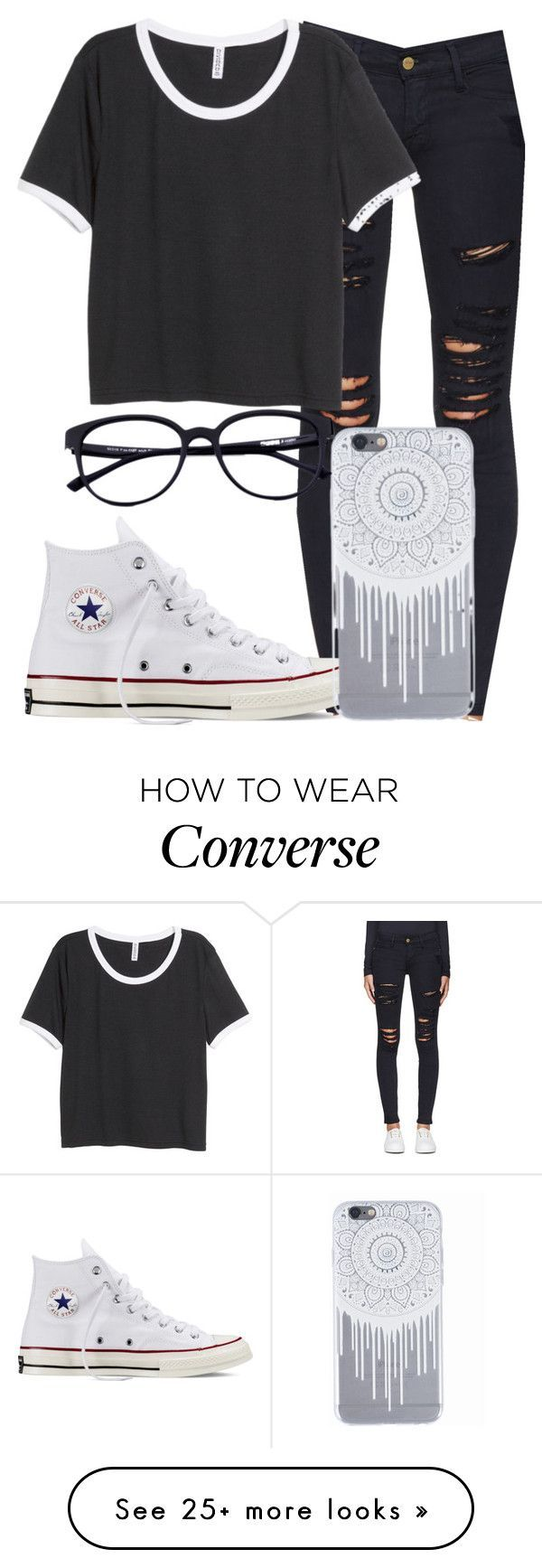 """§§ I'm So High §§"" by mallorimae on Polyvore featuring Frame Denim, H&M and Converse"