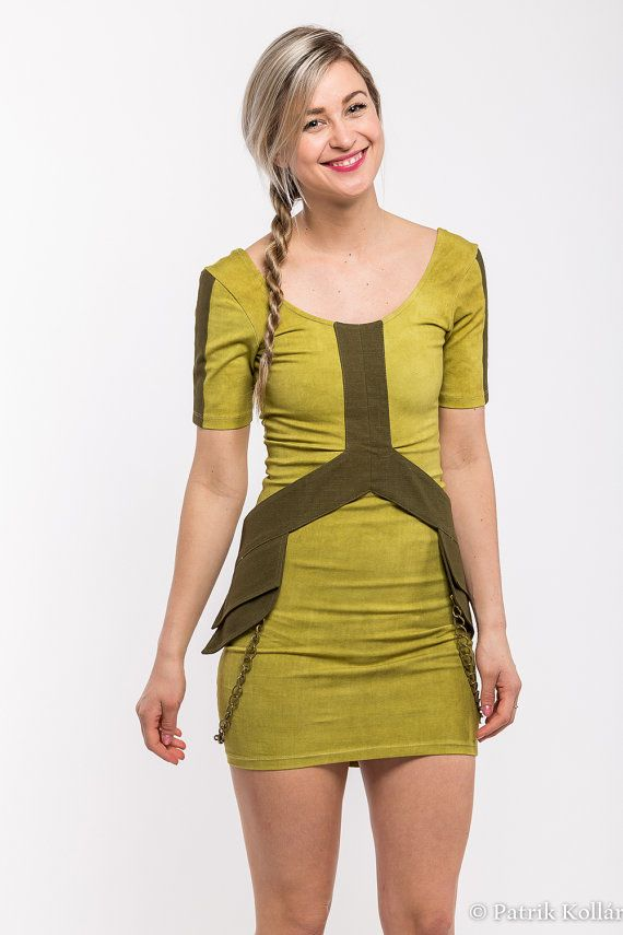 Rocket dress  green and olive pocket belt by Alienelia on Etsy