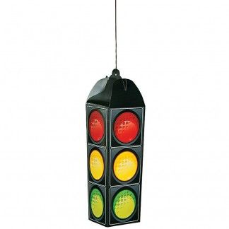 1 Cardboard traffic light party decoration.Looks great hanging up in the party room at a car, racing or construction themed party or event.Measures approx 47cm in length and each side is 14cm wide.Comes flat packed and requires assembly. Does not light up.