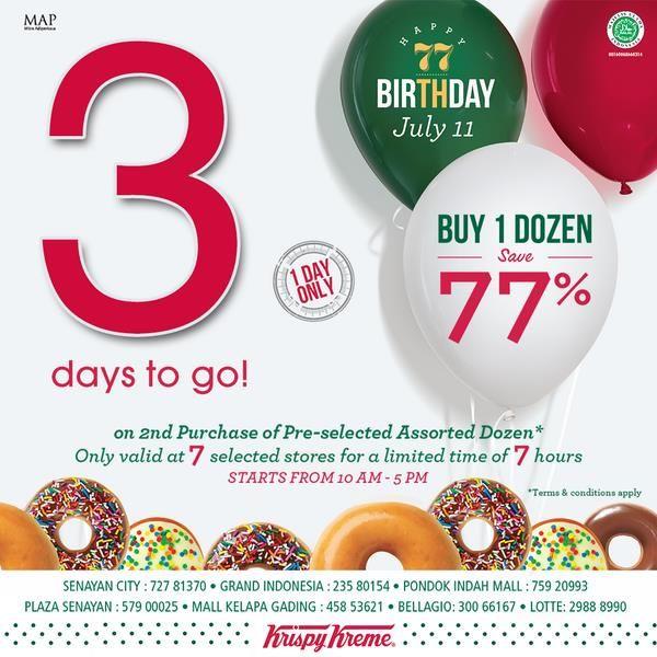 Krispy Kreme Doughnuts: Buy 1 Dozen Save 77% @KrispyKremeIndo
