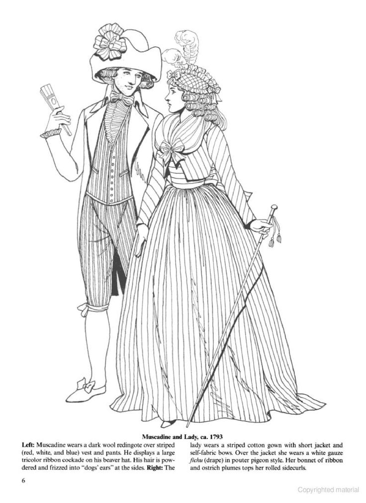 1793 from empire fashions coloring page - Fashion Coloring Pages