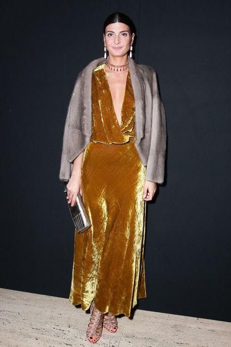 Giovanna Battaglia - crushed mustard velvet dress