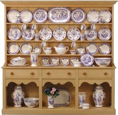 1:12 scale Welsh dresser with blue and white china.  Yes, this is all miniature, by Stokesay Ware.
