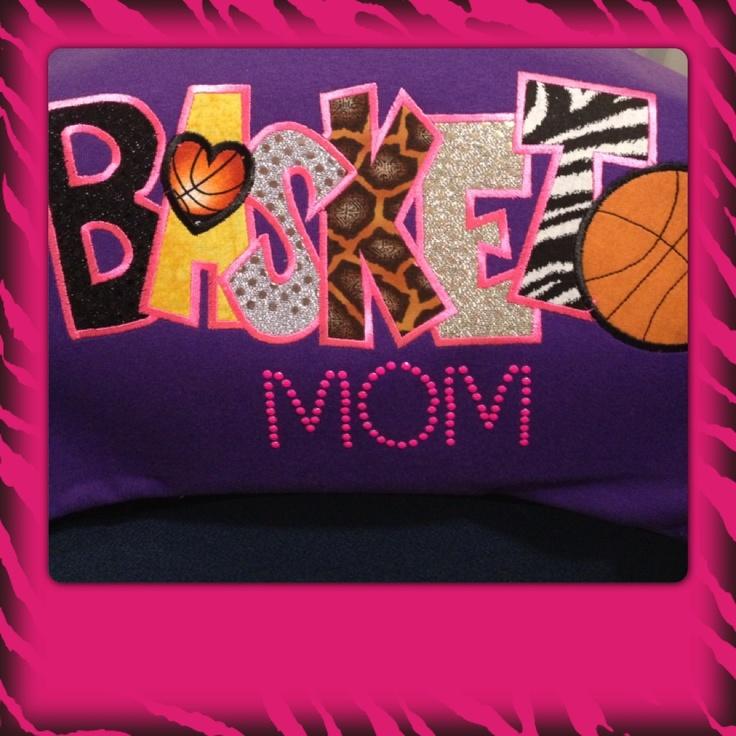 Basketball mom shirt embroidery and rhinestone