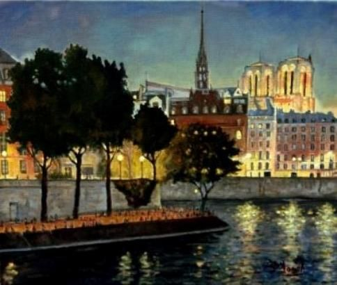 Fred MARSH - A summer  evening view over the Île St Louis to the Île de la Citè, with Notre Dame Cathedral lit up in the evening, Paris
