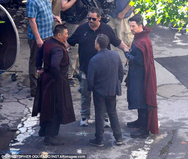 Strange outfit: Cumberbatch, 40, was in full costume as the mystic superhero Doctor Stephen Strange, rocking his Cloak of Levitation and Eye of Agamotto bling