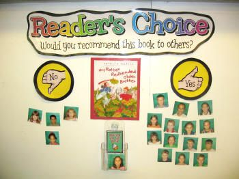 interactive literacy bulletin board that may just come in handy as we approach International Children's Book Day {on April 2nd} – and any other day, of course! Not only does the board get your students reading, it invites them to pay attention, make observations and comparisons, and ultimately, share their opinion.