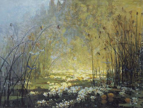The Pond with Waterlilies and Dragonflies - Pierre-Eugene Montezin
