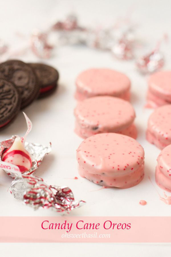 candy cane oreos that are easy and delicious. The kids can do this all by themselves! ohsweetbasil.com
