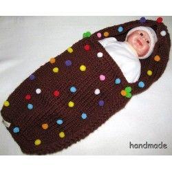 cocoon baby, ručně pletený kokon pro miminko, spací vak, pytel, fusak; knitting baby sleeping bag, hood