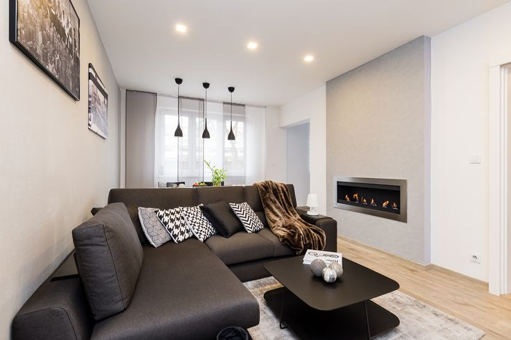 Modern living room with bio fire place