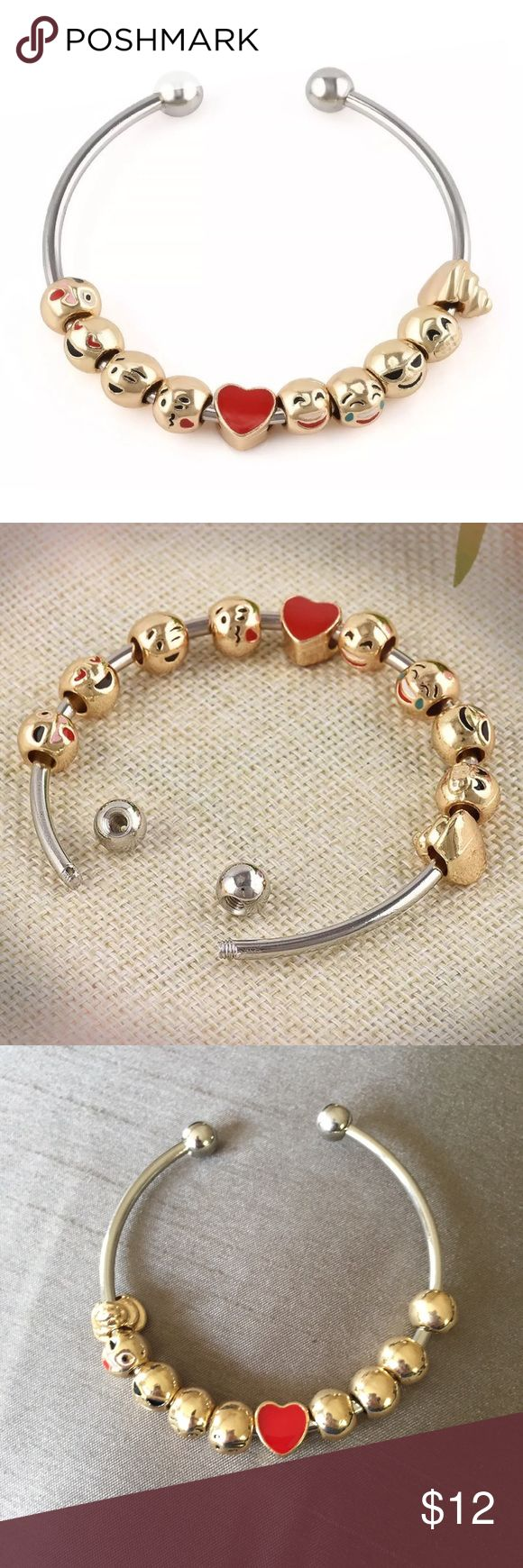 Emoji 10-Bead Charm Bracelet Bangle Emoji 10-Bead Charm Bracelet Bangle in silver tone metal with 10 gold tone emoji beads.  The  silver beads at the end of the bangle are removable so the emoji beads can be added or removed as you wish.  The bangle is a solid metal alloy, but has a little give to adjust to your wrist.  Fun bangle bracelet to express your emotions using emojis. Jewelry Bracelets