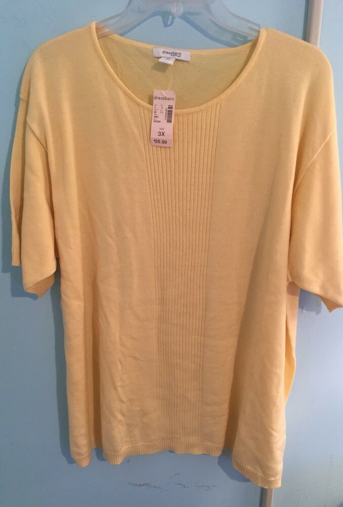 cf3095d7325 Dress Barn Plus Size 3x Yellow Short Sleeved Sweater NEW with Tag FREE SHIP   Dressbarn  Roundneck