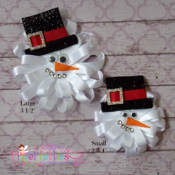 Snowman Loopy Hair Bow-snow, winter, stocking stuffer, gift, hairbow, hair bow, clippie