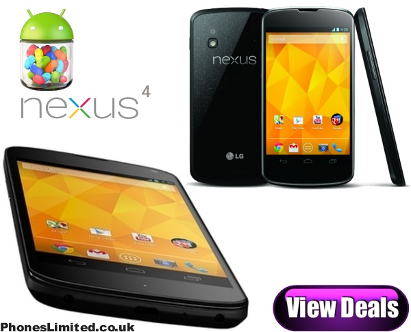 LG's Google Nexus 4 deals - http://www.phoneslimited.co.uk/Google/Nexus+4.html  After O2 secured the exclusive release of the new Google Nexus 4 we quickly learned that the cheapest contract deals offering the phone free of charge would set you back £36 per month, considering a SIM free version from Google only costs £240 and you could throw in your own SIM card this caused a lot of controversy.