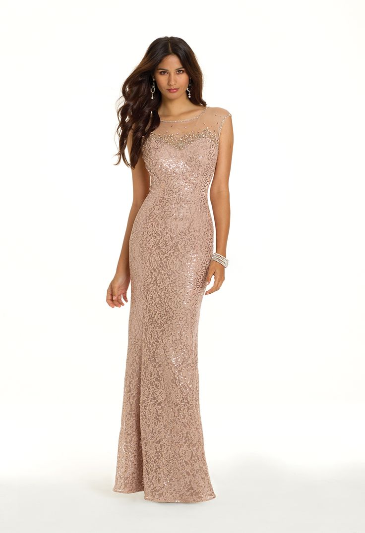 Camille La Vie Sequin Lace Prom Dress with Cutout Back
