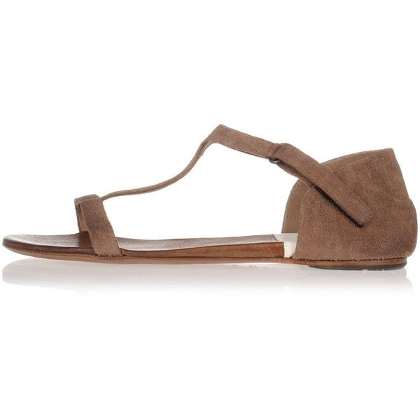 Marsell Suede Flat Sandals (£225) ❤ liked on Polyvore featuring shoes, sandals, brown, marsèll, brown suede sandals, marsell shoes, suede leather shoes and brown flat shoes