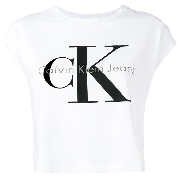 Ck Jeans logo T-shirt ($58) ❤ liked on Polyvore featuring tops, t-shirts, white, cotton tee, white cotton tee, logo tee, logo top and calvin klein jeans t shirt