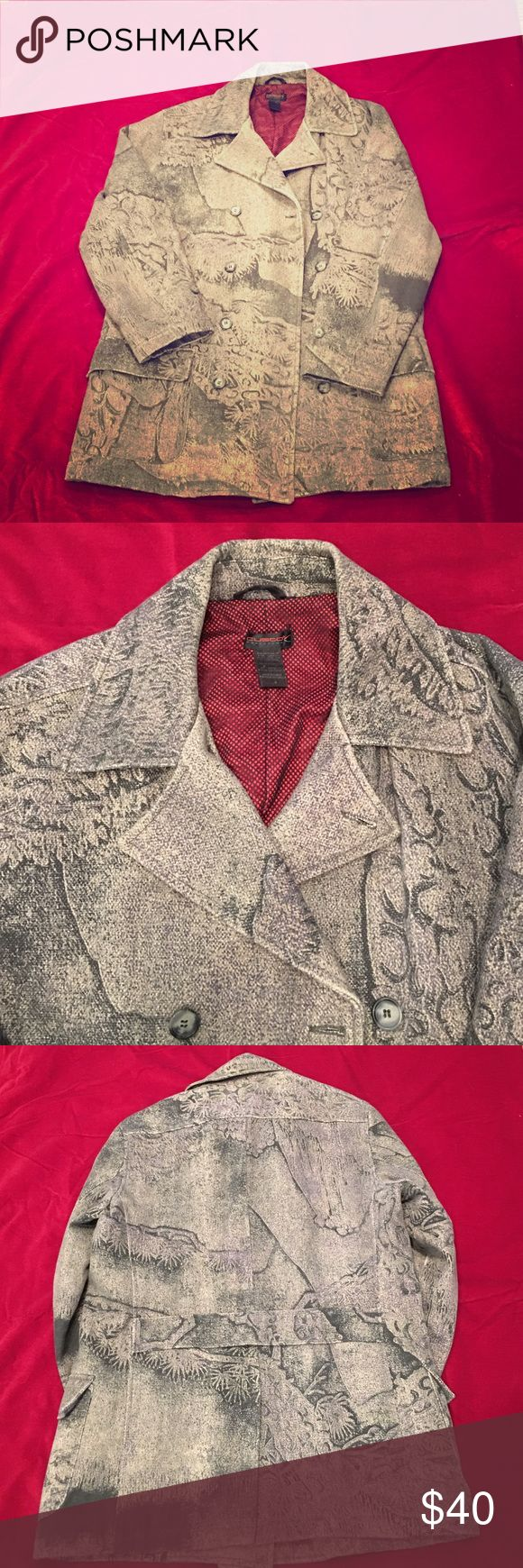 Men's Custo Barcelona Double Breasted Pea Coat CUSTO men's size 4 so XL. Very good condition, with a few holes only inside pockets, that you cannot see. 100% cotton! With polyester lining in mesh RED. And GREAT CUSTO PRINT! Fun but neutral. Custo Barcelona Jackets & Coats
