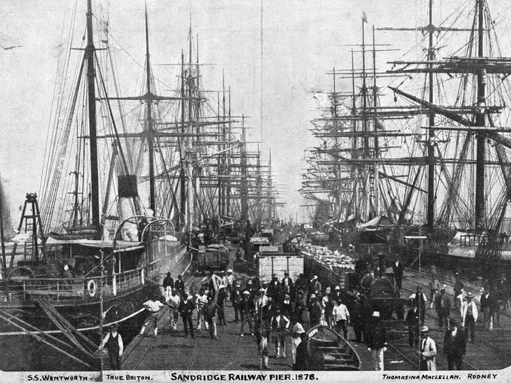 Many ships docked at Port Melbourne's Railway and Station Piers (Port Melbourne was known as Sandridge in the 19th century).