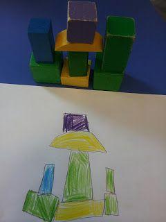 * CONSTRUCCIONS I MATEMÀTIQUES Ontwikkelen ruimtelijke oriëntatie. Geen duur materiaal nodig. Gewoon wat oude blokken, papier en potlood