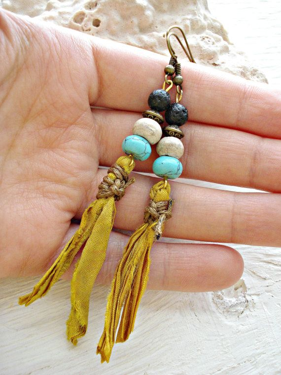 Boho Earrings Boho Jewelry Hippie Earrings by HandcraftedYoga